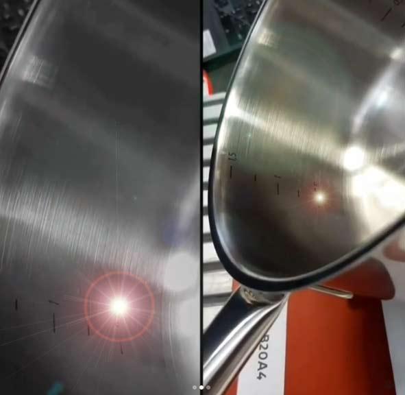 Лазерная маркировка шкалы внутри посуды из металла. Шкала наносится лазерным станком ТурбоМаркер.
