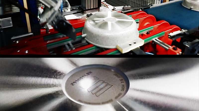 Лазерная маркировка серийного номера на посуде в условиях поточного производства на заводе Нева Металл Посуда